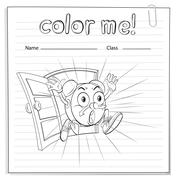 Coloring worksheet with a clock - stock illustration
