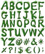 Capital letters of the alphabet in green color - stock illustration