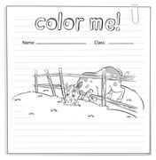 Coloring worksheet with a cow Stock Illustration