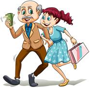 Young lady with her sugar daddy - stock illustration