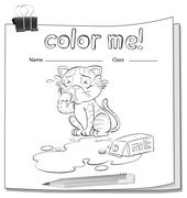 Coloring worksheet with a crying cat Stock Illustration