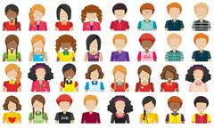 Group of people without faces - stock illustration