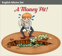 English idiom showing the wealth at the pit - stock illustration