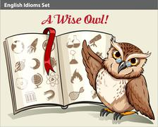 English idiom with a wise owl Stock Illustration