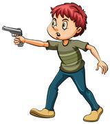 Man with a gun Stock Illustration