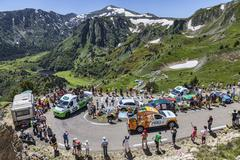 Publicity Caravan in Pyrenees Mountains - stock photo