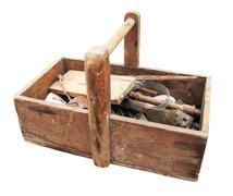 Grungy aged tool box Stock Photos