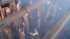Fish Smoking Process For Home Use. Smoked Mackerel. Close Up Stock Footage