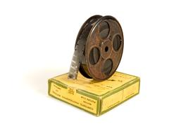 16mm 30m film reel and box - stock photo