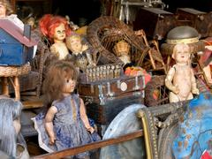 Antiques and dolls - stock photo