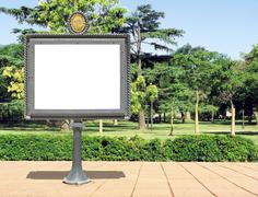 Publicity board on a park - stock photo