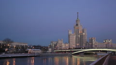 High-rise building on Kotelnicheskaya embankment in Moscow, Russia Stock Footage