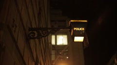 Victorian Police Sign at night Stock Footage