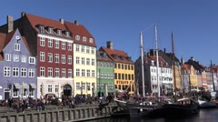 A spell of early spring in Nyhavn, Copenhagen Stock Footage