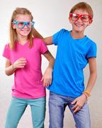 Playful brother and sister have fun Stock Photos