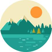 Vector vintage background with nature, forest, hills and mountains Stock Illustration