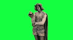 Living statue is afraid Chromakey - stock footage