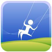 Kid on swing Stock Illustration