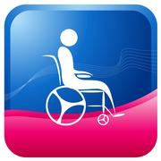 wheel chair patient - stock illustration