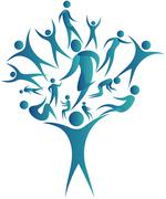 human networking tree - stock illustration