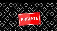 Metal fence with red sign Private isolated on black - stock illustration