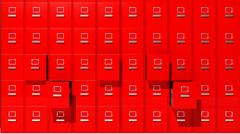 Archive red cabinets 3D render Stock Illustration