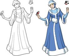 Snow Maiden with birds Stock Illustration