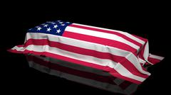 Coffin covered with the flag of USA - stock illustration