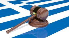 Gavel on the flag of Greece Stock Illustration