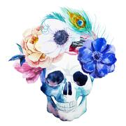 Anemones and scull - stock illustration