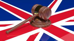 Gavel on the flag of united kingdom - stock illustration