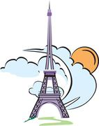 eiffel tower paris - stock illustration