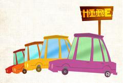car hire - stock illustration