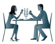 Candle light dinner Stock Illustration