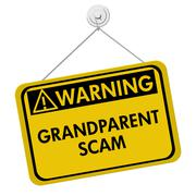 Grandparent Scam Warning Sign - stock illustration