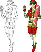 Christmas elf Asian boy with gift Stock Illustration