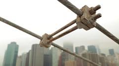 NYC Manhattan Skyline View from Brooklyn Bridge on Foggy Morning - stock footage