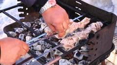 To broil meat. Stock Footage