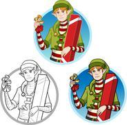 Christmas elf Caucasian boy with gift set - stock illustration