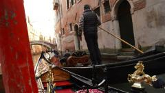 Gondola tour guide in Venice Italy Stock Footage