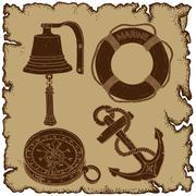 Stock Illustration of marine theme icons set