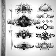 medieval heraldry shields - stock illustration
