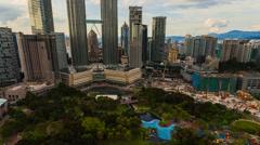 Petronas Twin Tower Sunset Timelapse - 4K resolution - Pan Effect Stock Footage