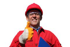Smiling Industrial Worker Over White Background - stock photo