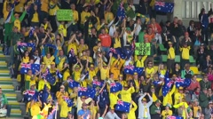 Australalian supporters cheering- Kyocera Stadion in The Hague, Netherlands Stock Footage