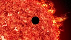 Mercury venus transit sun with solar wind and coronal mass ejection 4k UHD 11614 Stock Footage