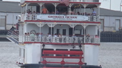 Paddlewheel boat in Savannah Georgia Port Stock Footage