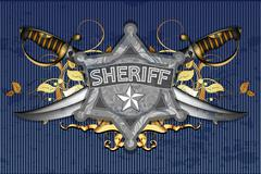 sheriff star with sabers - stock illustration
