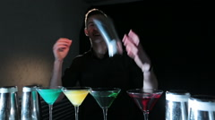 Joyful bartender Stock Footage