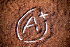 grade A plus mark on cocoa powder - stock photo